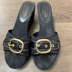 Coach Monogram Greta Wedge Sandals 11 Gold Buckle